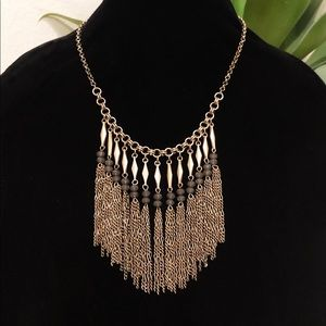 BANANA REPUBLIC brass fringe bead bib necklace NWT